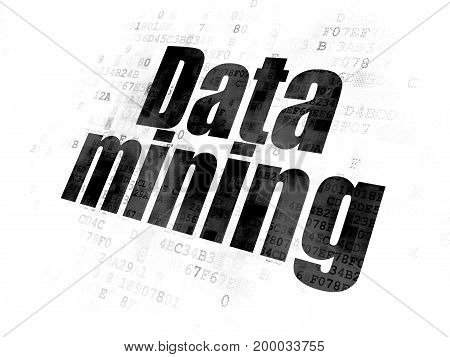 Information concept: Pixelated black text Data Mining on Digital background