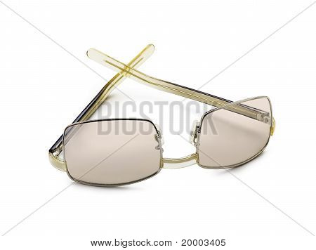 A pair of black glasses isolated on a white background