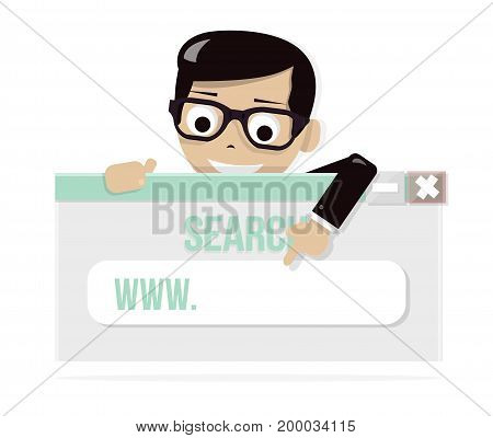 Young boy looking on simple browser window. Your website in the search line. Happy character.
