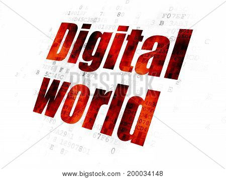 Information concept: Pixelated red text Digital World on Digital background