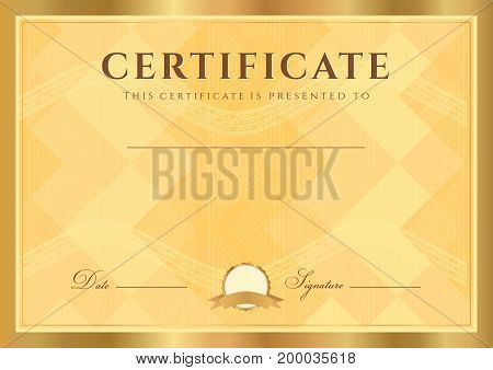 Certificate, Diploma of completion (abstract design template, background) with gold guilloche pattern (watermark)