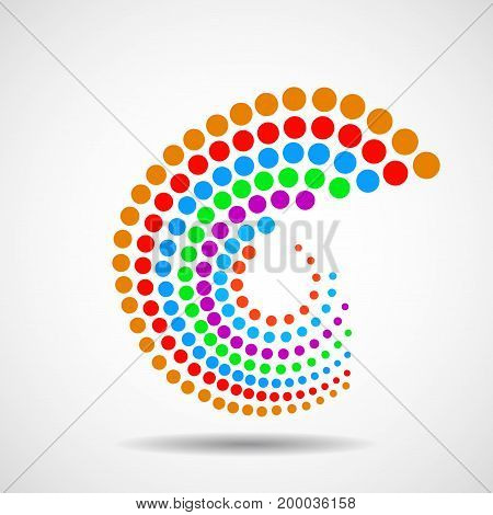 Abstract colorful spiral with dotted circles. Dots in circular form. Vector design element