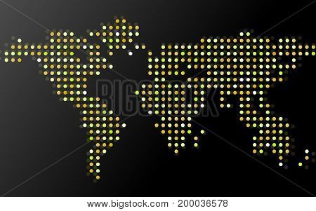 Abstract world map of dots on black background. Vector