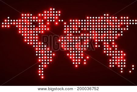 Abstract world map with glowing dots. Vector