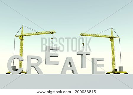 Create concept building crane white background 3d illustration