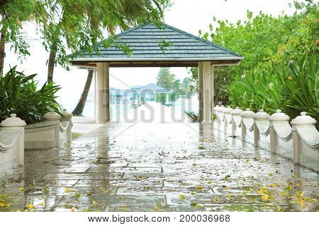 View of tropical resort on rainy day