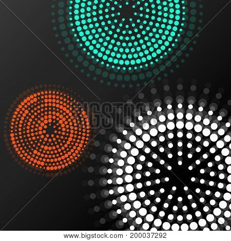 Abstract background with colorful dotted circles. Dots in circular form. Vector design backdrop