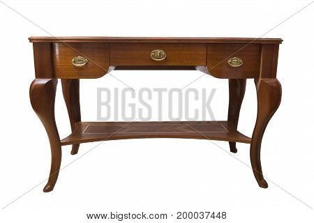 Antique wooden handcrafted table with gold metal handles and shelves on isolated white background