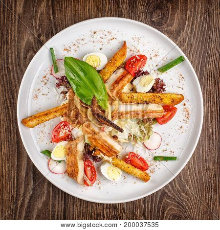 salad, food, caesar, cheese, meal and healthy concept - Caesar salad with chicken