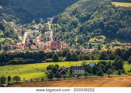 Aerian view from Lillenstein of Village of Koenigstein Hesse Germany