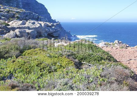 Areal like view of cape point panoramic wide shot in south Africa