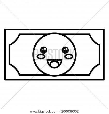 bill dollar money kawaii character vector illustration design