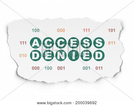 Security concept: Painted green text Access Denied on Torn Paper background with  Binary Code