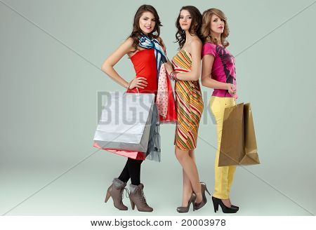 Girlfriends Posing Shopping Bags