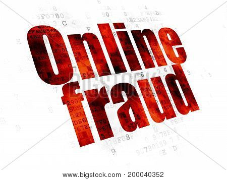 Security concept: Pixelated red text Online Fraud on Digital background