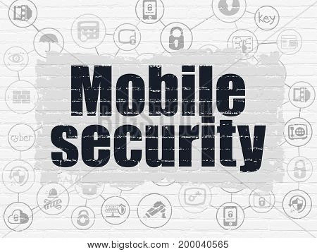 Safety concept: Painted black text Mobile Security on White Brick wall background with Scheme Of Hand Drawn Security Icons