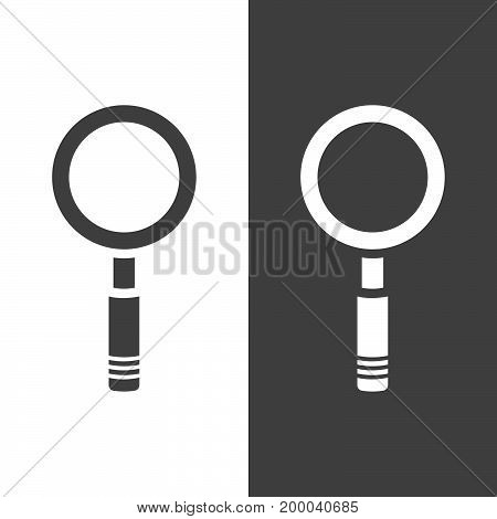 Magnifying glass icon on a dark and white backgrounds. Vector illustration