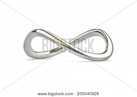 3d illustration of a chrome infinity sign isolated on white