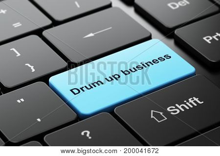 Finance concept: computer keyboard with word Drum up business, selected focus on enter button background, 3D rendering