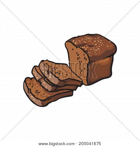 vector sketch fresh dark brown sliced rye bread . Detailed hand drawn isolated illustration on a white background. Flour pastry products, bakery banner, poster design object