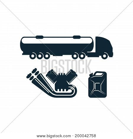 vector gasoline tanker truck vehicle petroleum engine, canister set simple flat icon pictogram isolated on a white background. Gas oil fuel, energy power industry symbol, sign