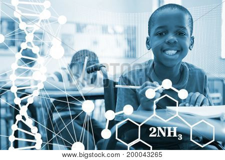 DNA helix structure against white background against disabled pupil smiling at camera in classroom