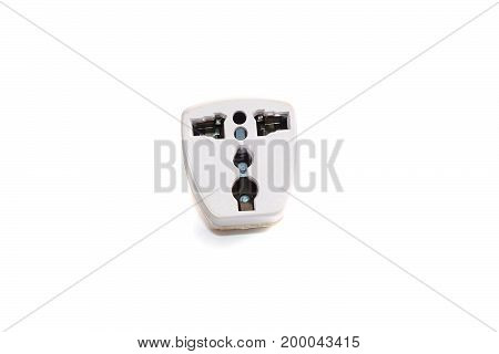 a white mobile adapter plug on white background