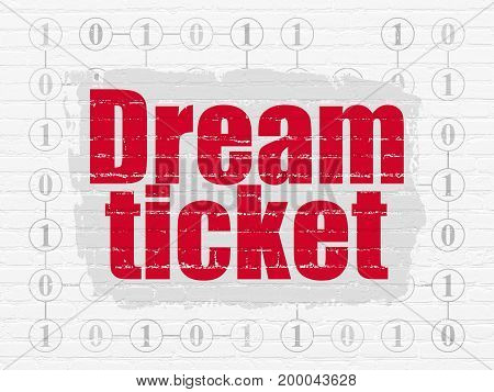 Finance concept: Painted red text Dream Ticket on White Brick wall background with Scheme Of Binary Code