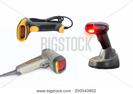 set laser barcode scanner business, code, concept,