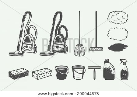 Set of retro cleaning design elements in vintage style. Monochrome Graphic Art. Vector Illustration.