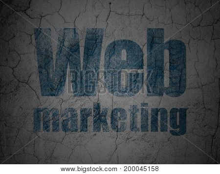 Web design concept: Blue Web Marketing on grunge textured concrete wall background