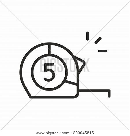 Construction roulette line icon on white background. Vector illustration.