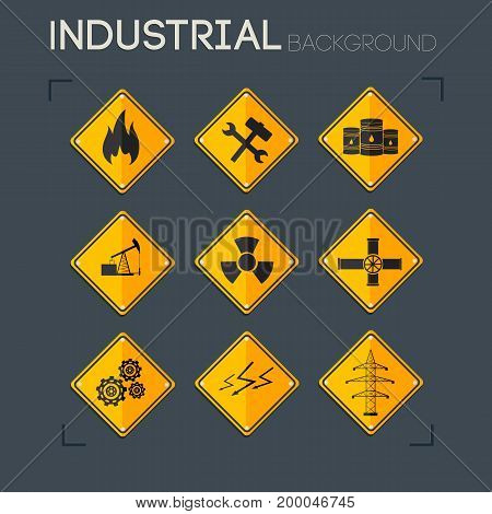 Industrial icons collection of gas wrench barrel nuclear pumpjack pipes gears lightnings electricity line isolated vector illustration