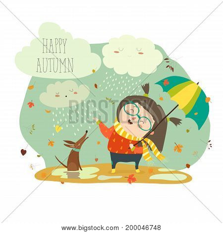 Cute girl playing in rain with umbrella. Vector illustration