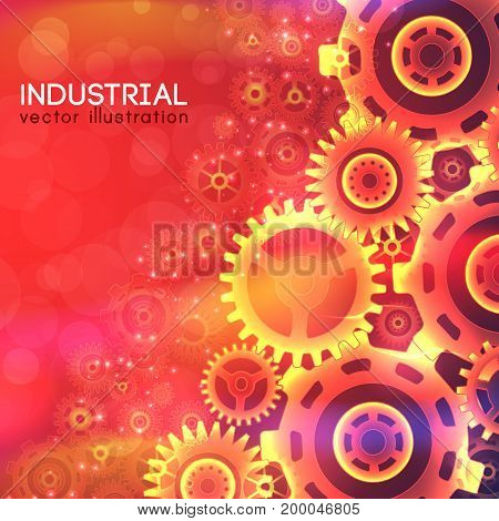 Industrial bright template with mechanical glowing light gears on red blurred background vector illustration