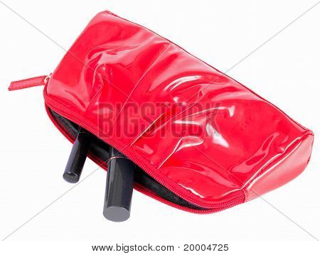 The red female beautician handbag