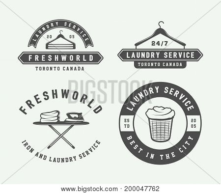 Set of vintage laundry cleaning or iron service logos emblems badges and design elements. Monochrome Graphic Art. Vector Illustration.