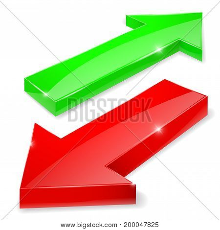 Green and red arrows. Up and down web shiny icons. Vector 3d illustration isolated on white background