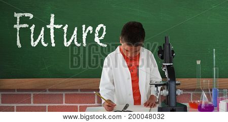 Schoolboy writing on note pad against greenboard on wall