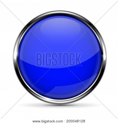 Blue round glass button with chrome frame. Vector 3d illustration isolated on white background