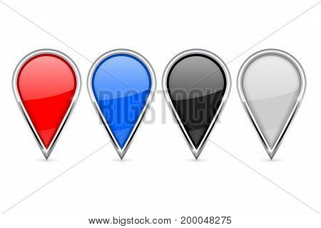 Location pin icons. Colored set with chrome frame. Vector 3d illustration isolated on white background