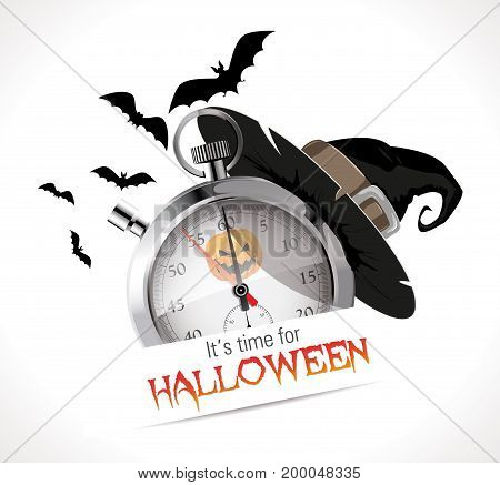 Time for Halloween - concept - stock illustration