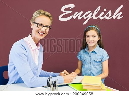 Digital composite of Student girl and teacher at table against red blackboard with English text
