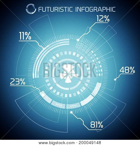 Digital futuristic infographic concept with innovative display pie chart text and percentage on blue background vector illustration