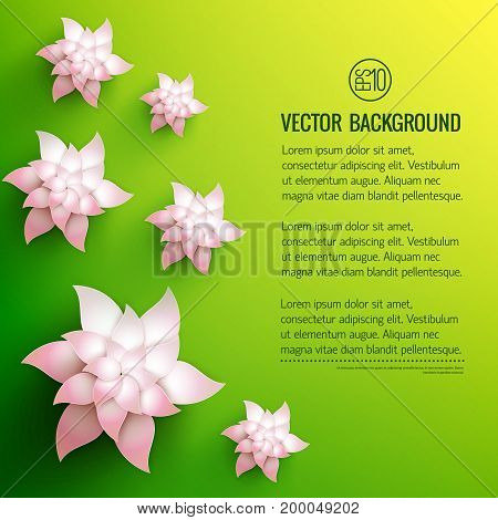 Green yellow background with text and white decorative flowers with pale pink shade vector illustration