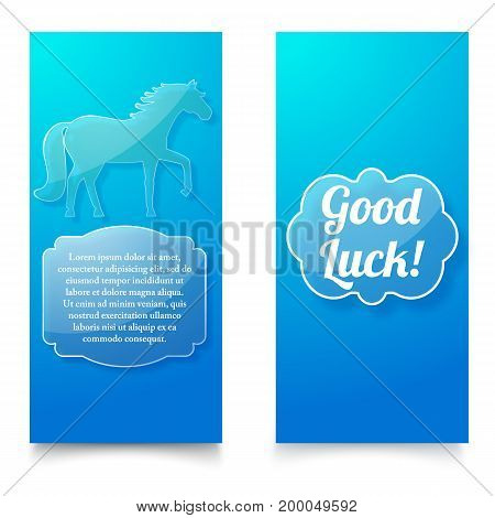 Good luck wishing blue vertical banners set with horse as symbol of new year flat vector illustration