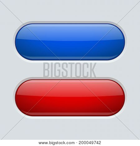 Blue and red oval buttons. On gray plastic background. Vector illustration