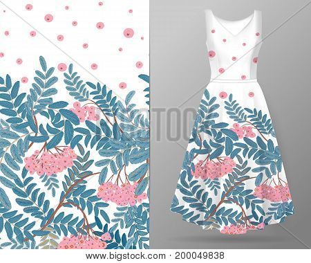 Vertical autumn rowanberry seamless pattern on summer dress mock up. Detailed intricate hand drawing background. Chaotic distribution of elements. Pink and blue on white. EPS10 vector illustration.