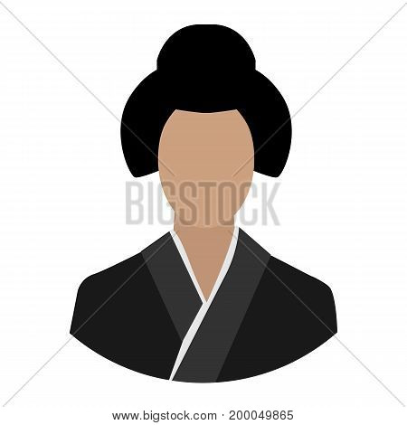 Vector illustration Asian girl in traditional costume. Ethnic Chinese clothes. Asian woman avatar icon