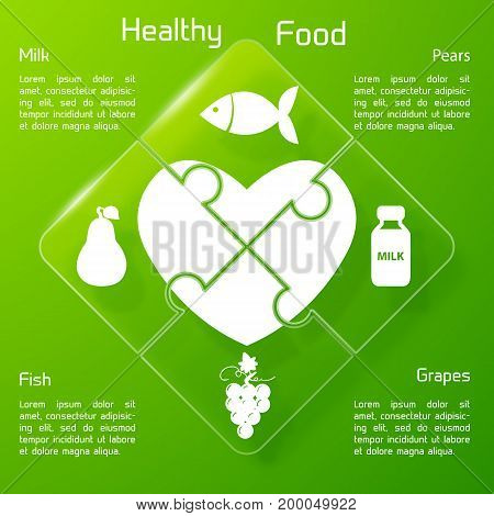 Healthy food concept puzzle design with products icons valuable for human heart on green background vector illustration